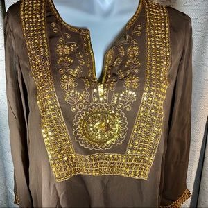 NWOT Soft Surroundings 1X Golden Sequin Tunic